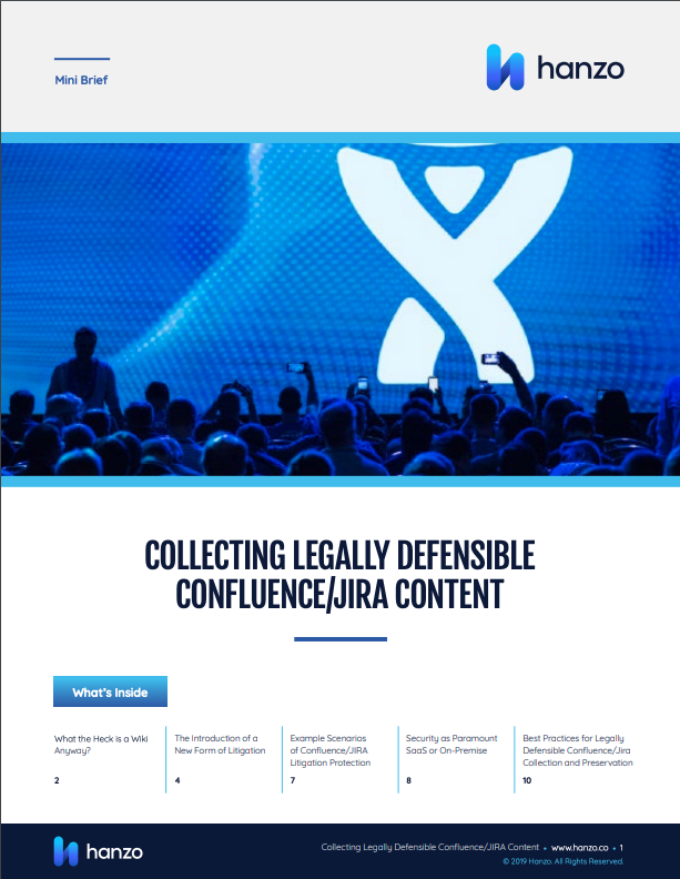 Mini-Brief - Collecting Legally Defensible Confluence Jira Content - 2019 - Cover