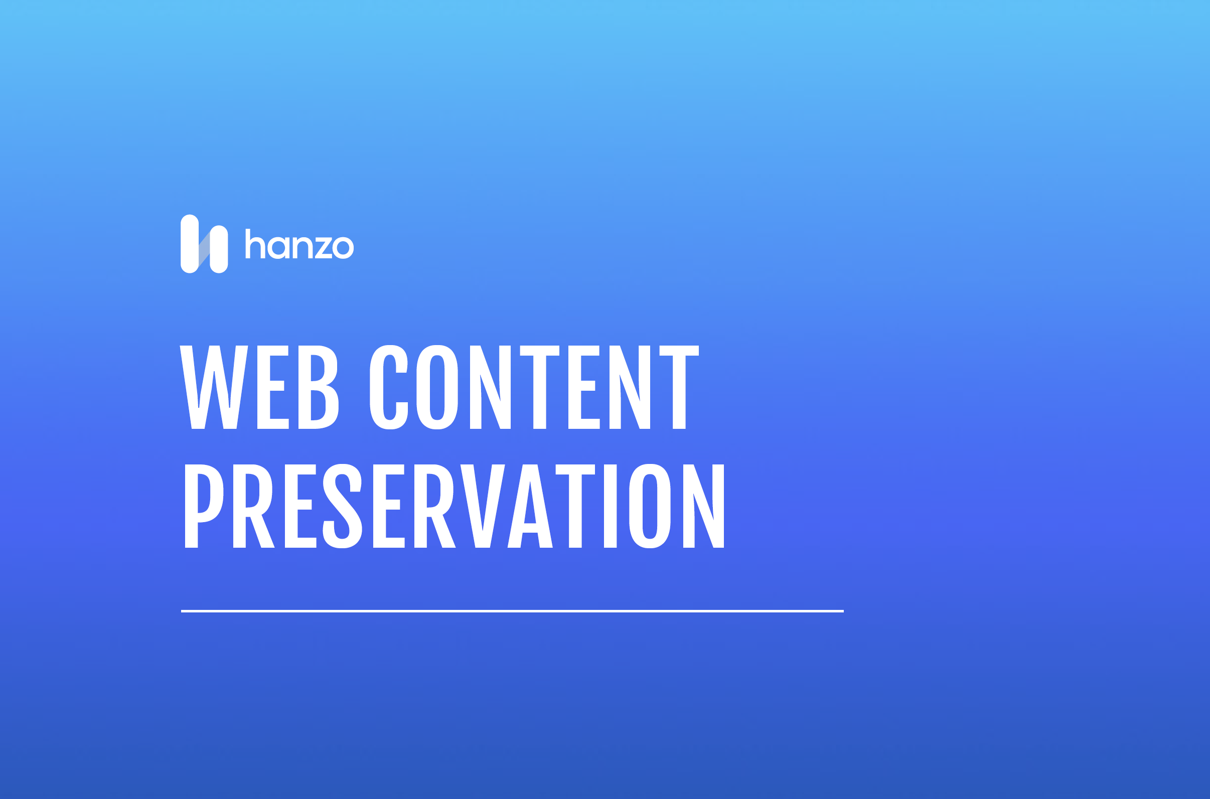 Web Content Preservation Front Page
